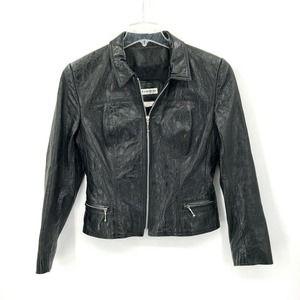 Bebe Vintage Moto Jacket Leather Cropped Black 8